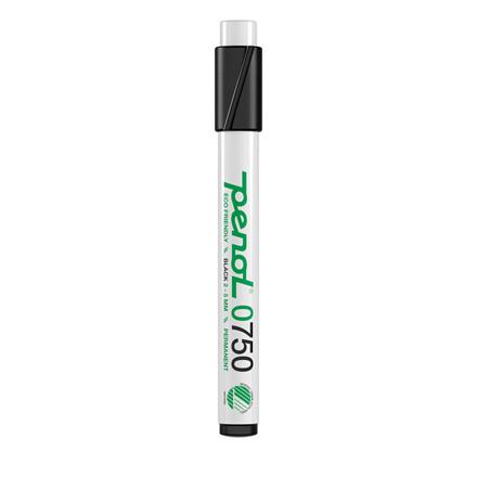 Marker Penol 0750 2-5mm sort skå spids permanent