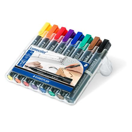 STAEDTLER permanent Marker sæt Lumocolor 352 - 8 penne i forskellige farver