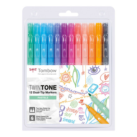 Marker Tombow TwinTone pastel 0.3/0.8 (12)