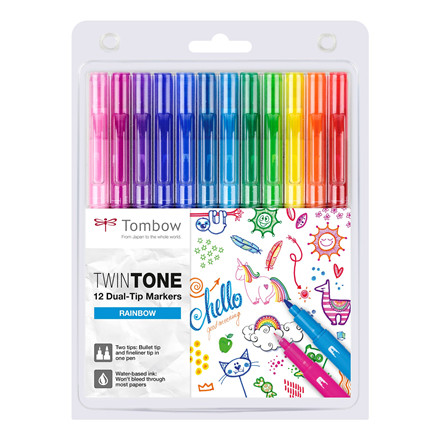 Marker Tombow TwinTone Rainbow 0,3/0,8 (12)