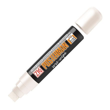 Marker ZIG Posterman wet-wipe 15mm hvid