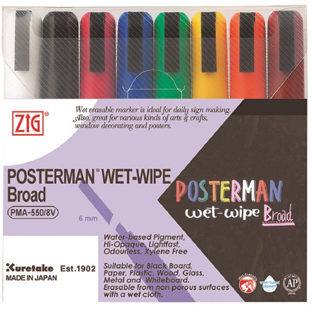 Marker ZIG Posterman wet-wipe 6mm 8/set