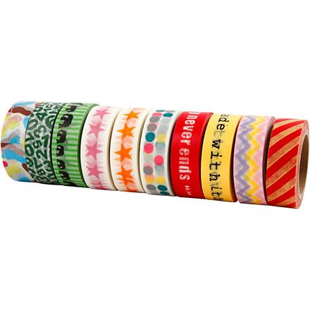 Masking Tape - sortiment - 15 mm bred - Retro - 10 x 10 m