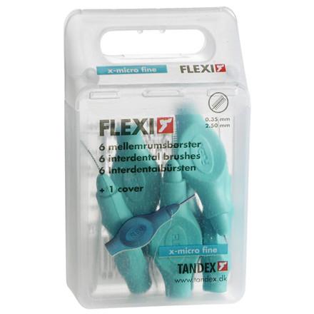 Mellemrumsbørste X-Micro Fine, Tandex Flexi, 1 æske indeholder 6 stk + 1 hætte, med håndtag, 2,5 mm,