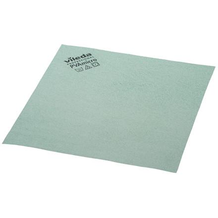 Microfiber klud, Vileda, grøn, med PVA imprægnering, 80% polyester, 20% polyamid, behandlet med poly