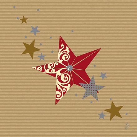 Middagsserviet, Dunilin Walk of Fame, 1/4 fold, 40x40cm, rød *Denne vare tages ikke retur*