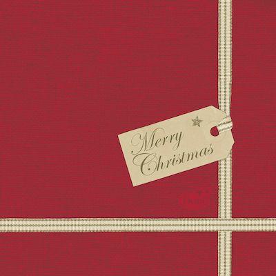 Middagsserviet, DuniSoft, Christmas Gift, Rød juledesign, airlaid, 20cm x 20cm