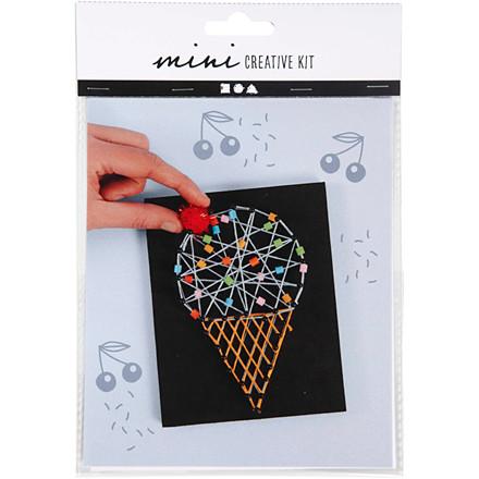 Mini kreative sæt, string art - isvaffel, 1sæt