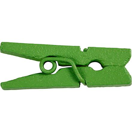Minitøjklemme, L: 25 mm, B: 3 mm, grøn, 36stk.