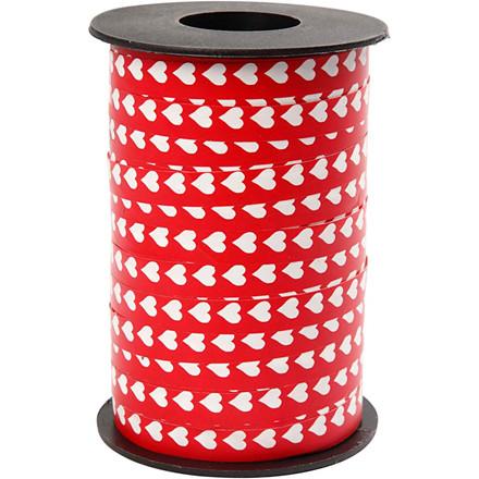 Mønstret gavebånd, B: 10 mm, rød m. hvide hjerter, 250m
