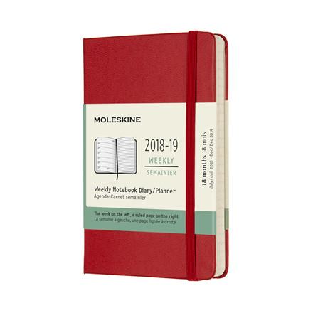 Moleskine Notebook Ugekalender 2019 | 18 måneder Scarlet Red 9 x 14 cm