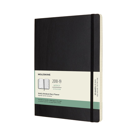 Moleskine Weekly Notebook XL 2018-19 | 18-months black soft cover 19 x 25 cm