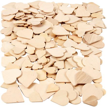 Mosaik størrelse 18-30 mm tykkelse 2 mm birk hjerter | 250 stk.