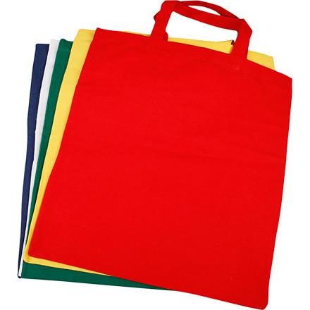 Mulepose i 100% bomuld med hank - 38 x 42 cm - Pakke med 5 farver