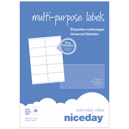 Multi etiketter - niceday A4 4046292 10 pr. ark  105 x 57 mm - 100 ark