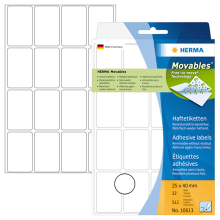 Multi-purpose labels 25x40 mm HERMA Movables white 512 pcs.