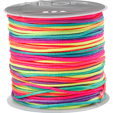 Multicolor knyttesnor, tykkelse 1 mm, neon multi, 28m