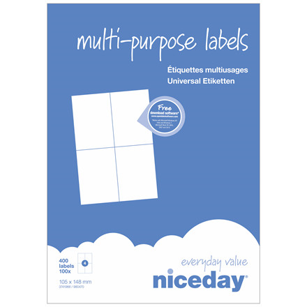 Multilabel - niceday A4 3741966 4 pr. ark 105 x 148 mm - 100 ark