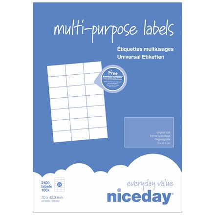 Multilabel - niceday A4 4579569 21 pr. ark 70 x 42,3 mm - 100 ark