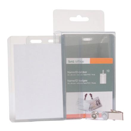 Navneskilte - til ID-kort 60 x 90 mm plast stående format