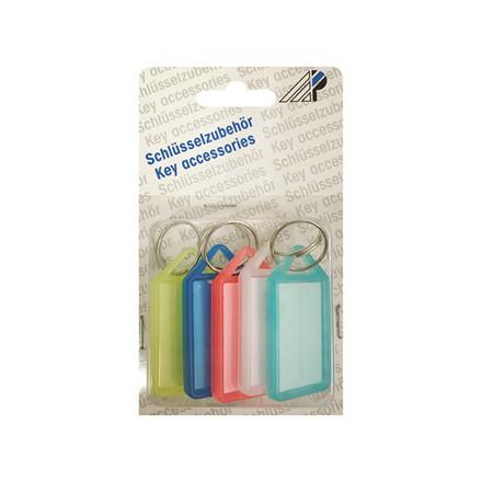 Nøgleringe transparente farver - 5 stk