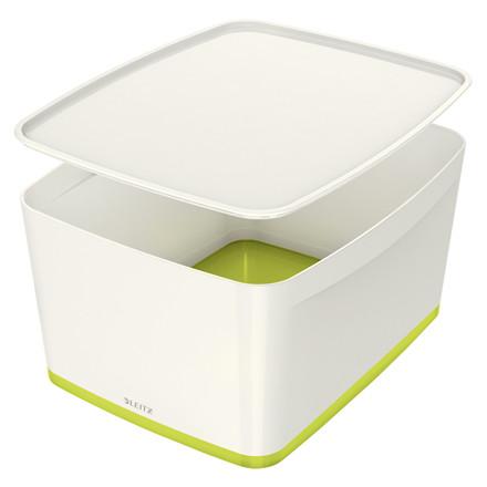Opbevaringsboks Leitz MyBox large med låg hvid/grøn