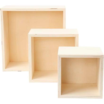Opbevaringskasser, H: 11+14+20 cm, dybde 10 cm, krydsfiner, kvadratisk, 3stk.