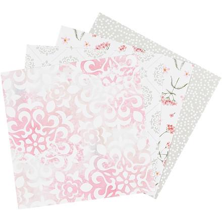 Origamipapir størrelse 15 x 15 cm 80 gram grøn grå hvid lys rød | 40 ark
