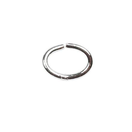 Oval-ring, tykkelse: 1 mm, indv. mål 4x6 mm, forsølvet, FS, 40stk.