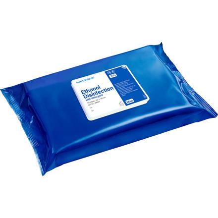 Overfladedesinfektion, Desinfektion Wet Wipe, med ethanol, maxi, blå, 43x30 cm,