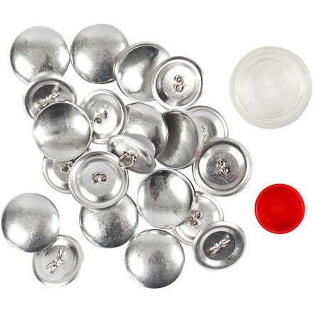 Overtræksknapper, diam. 22 mm, sølv, 12stk.