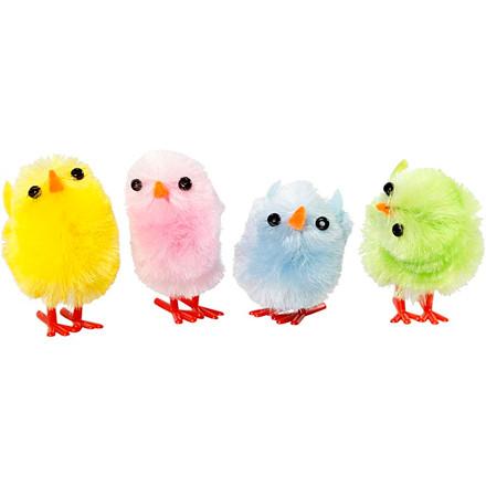 Påskekyllinger, H: 30 mm, pastel farver, 12ass.