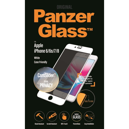 PanzerGlass iPhone 8/7/6s/6 Privacy CamSlider, White (CaseFr