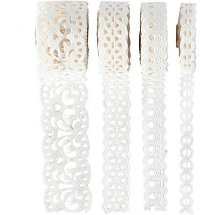 Papirblonde 8-23 mm bred hvid sæt med 4 mønstre - 4 x 2 meter