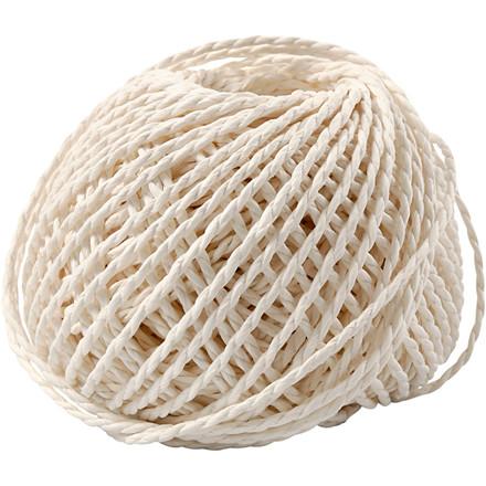 Papirgarn tykkelse 2,5-3 mm cirka 42 meter hvid | 150 gram