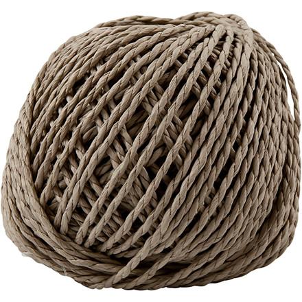 Papirgarn, tykkelse 2,5-3 mm, ca. 42 m, lys brun, 150g