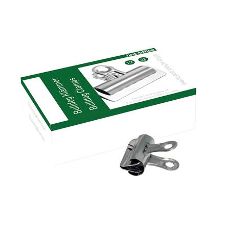 Papirklemme Bulldog - BNT 32 mm i stål 12 stk i pakken
