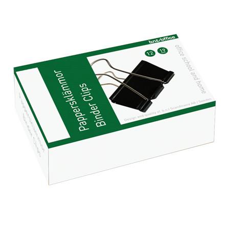 Papirklemme Foldback BNT - 19 mm sort stål 12 stk i pakken