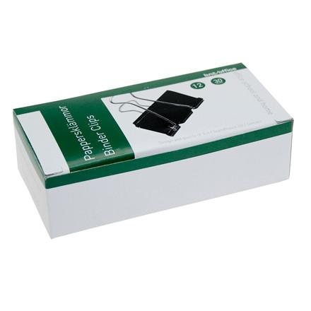 Papirklemme 3 cm BNT Foldback - sort stål 12 stk i pakken