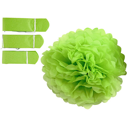 Papirpomponer diameter 20 + 24 + 30 cm 16 gram lime grøn | 3 stk.