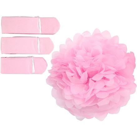 Papirpomponer diameter 20 + 24 + 30 cm 16 gram rosa | 3 stk.
