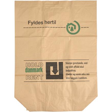 """Papirsæk, 2-lags, 120x70cm, 110 l, brun, 70x120cm, vådstærk, påtrykt """"Hold Danmark Rent"""""""
