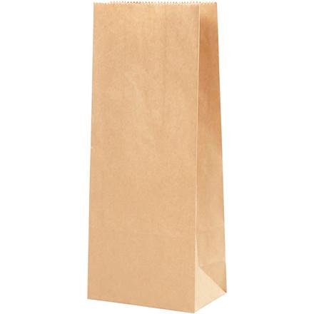 Papirspose brun 50 gram størrelse 10 x 6 x 24 cm - 100 stk