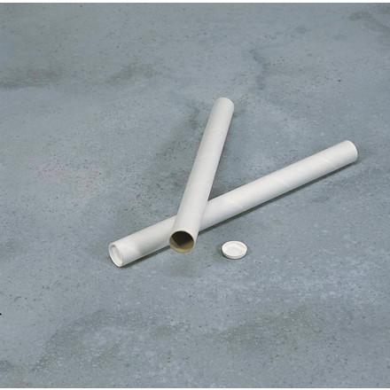 Paprør - Ø 50 x 2 x 650 mm hvide med låg