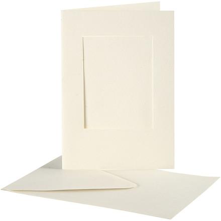 Passepartoutkort med kuvert, kort 10,5x15 cm, kuvert 11,5x16,5 cm, rektangulær, 10sæt, hulstr. 6,5x8,8