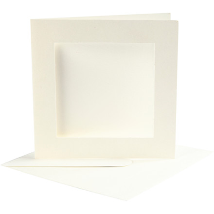 Passepartoutkort med kuvert, kort str. 12,5x12,5 cm, kuvert str. 13,5x13,5 cm, off-white, kvadratisk, 10sæt, 220 g