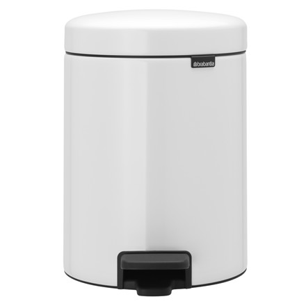 Pedalspand, Brabantia Newlcon, hvid, med plast inderspand, softclose, 5 l