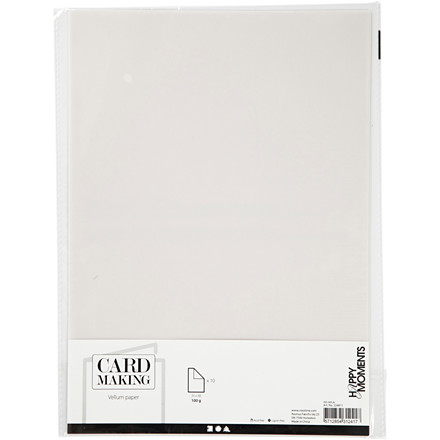 Pergamentpapir, råhvid, A4 210x297 mm, 100 g, 10ark