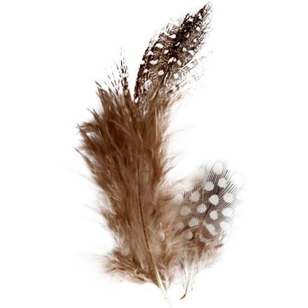 Perlehønsefjer natur 3 gram - cirka 100 stk.