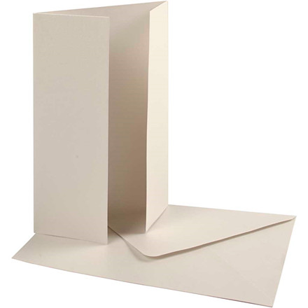 Perlemorskort med kuvert, kort str. 10,5x15 cm, kuvert str. 11,5x16,5 cm, råhvid, 10sæt, 120 g